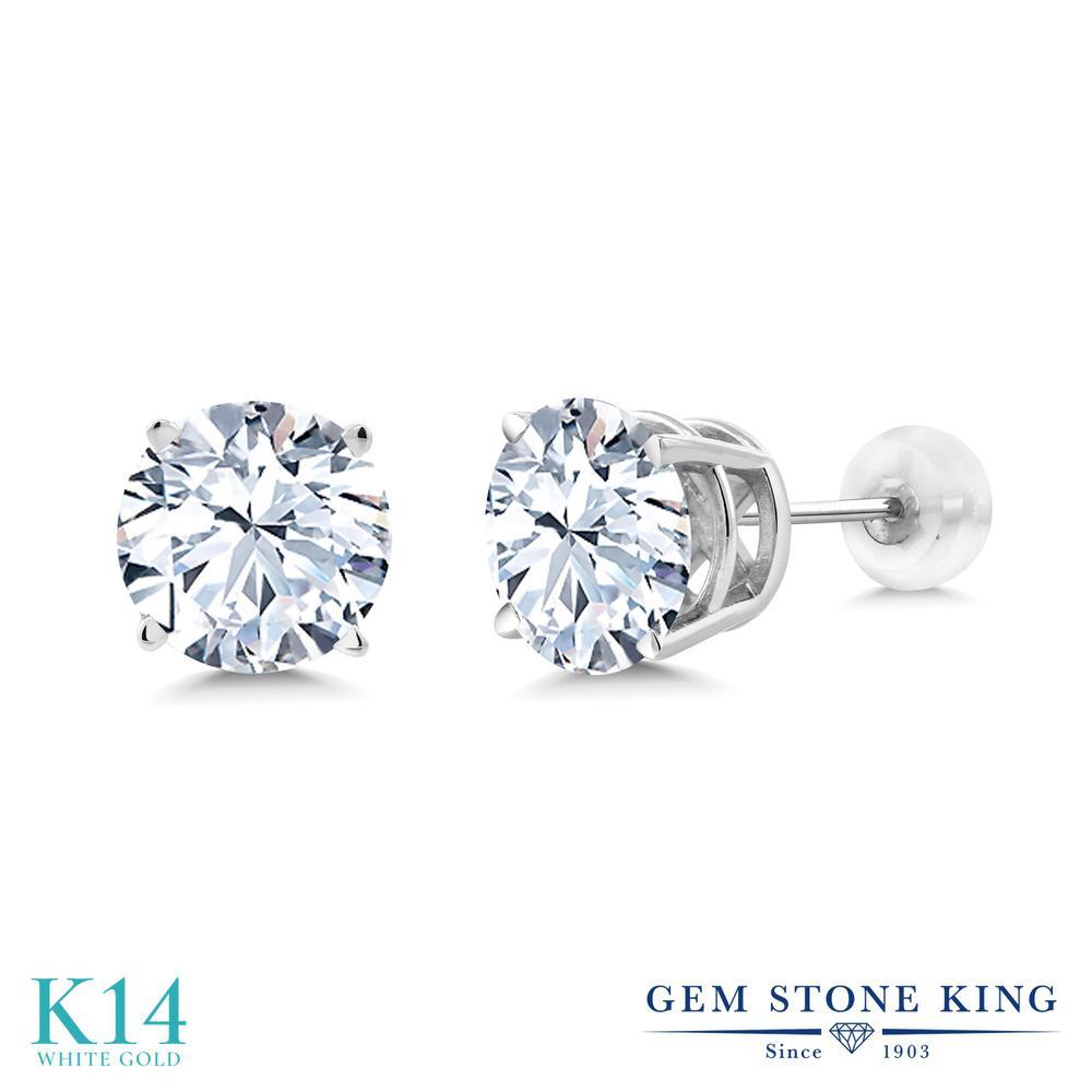 Gem Stone King ジルコニア (無色透明) 14金 ホワイトゴールド(K14) ピアス レディース CZ 大粒 シンプル 金属アレルギー対応 誕生日プレゼント