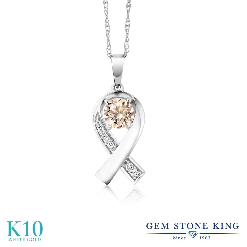 Gem Stone King 0.49カラット 天然 モルガナイト (ピーチ) 合成ダイヤモンド 10金 ホワイトゴールド(K10) ネックレス レディース 小粒 リボン 天然石 3月 誕生石 金属アレルギー対応 誕生日プレゼント