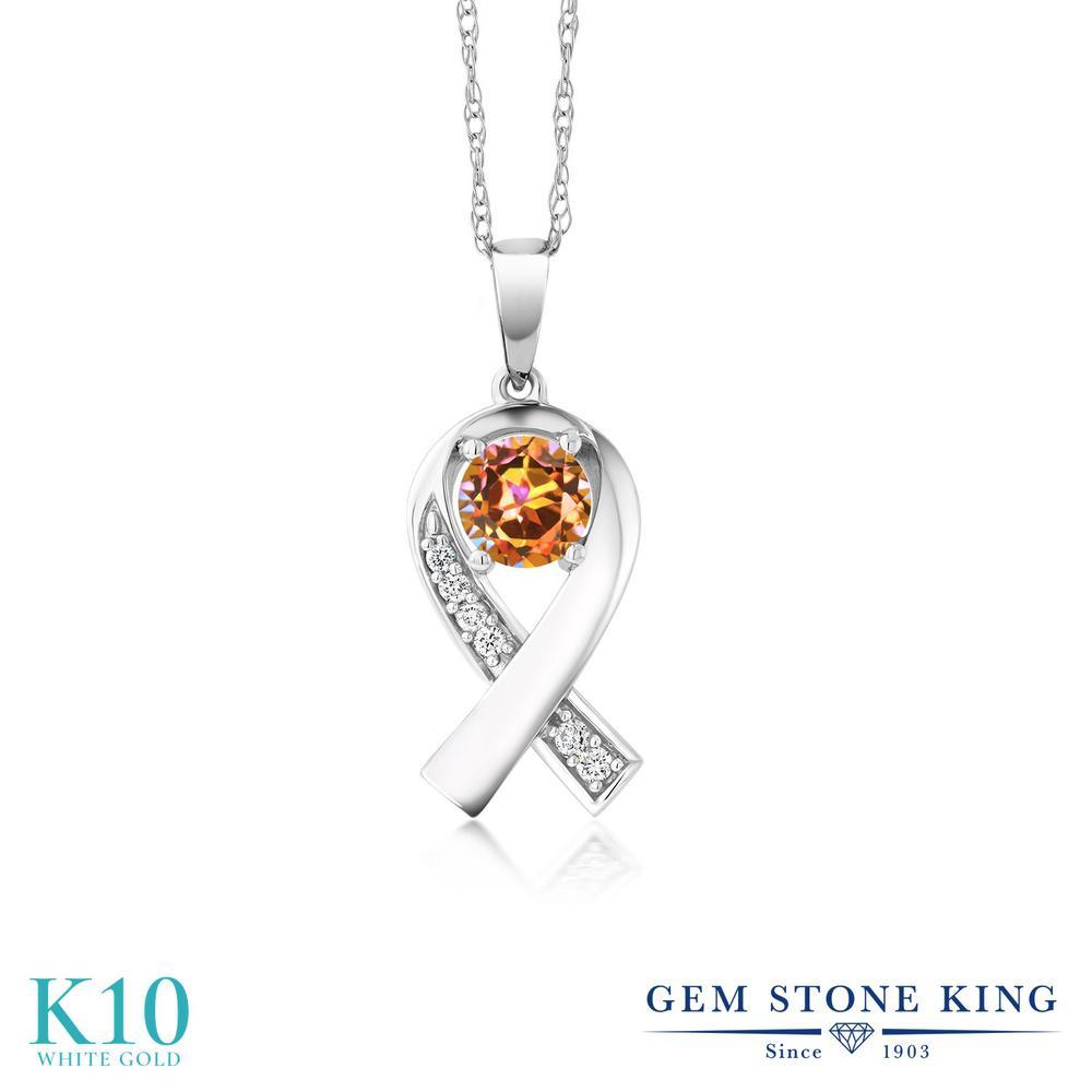 Gem Stone King 1.09カラット 天然石 エクスタシーミスティックトパーズ 合成ダイヤモンド 10金 ホワイトゴールド(K10) ネックレス レディース 大粒 リボン 天然石 金属アレルギー対応 誕生日プレゼント