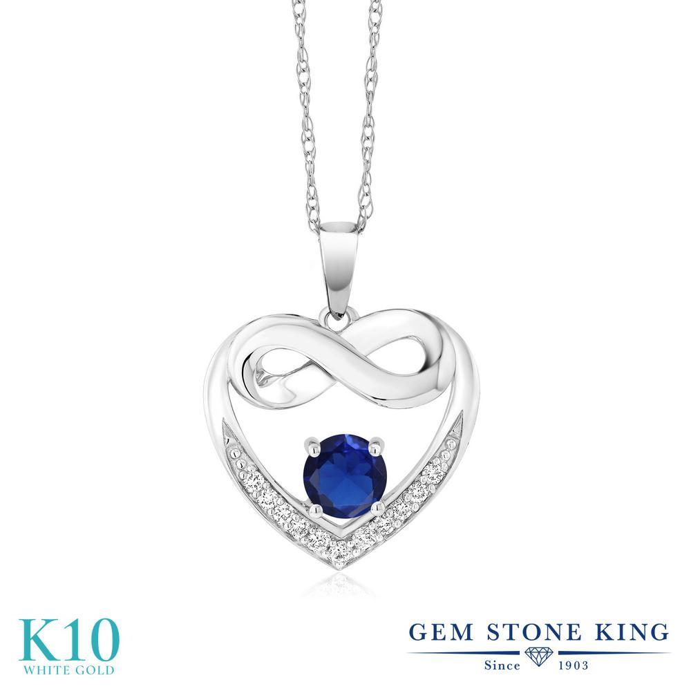 Gem Stone King 1.02カラット シミュレイテッド サファイア 合成ダイヤモンド 10金 ホワイトゴールド(K10) ネックレス レディース インフィニティ 金属アレルギー対応 誕生日プレゼント