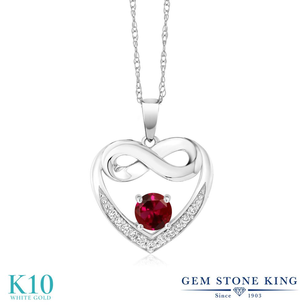 Gem Stone King 1.42カラット 合成ルビー 合成ダイヤモンド 10金 ホワイトゴールド(K10) ネックレス レディース 大粒 インフィニティ 金属アレルギー対応 誕生日プレゼント