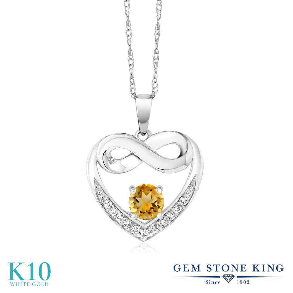 Gem Stone King 1.14カラット 天然 シトリン 合成ダイヤモンド 10金 ホワイトゴールド(K10) ネックレス レディース インフィニティ 天然石 11月 誕生石 金属アレルギー対応 誕生日プレゼント