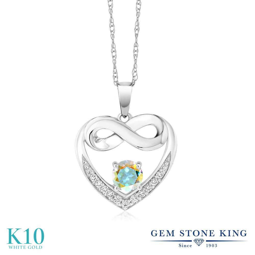 Gem Stone King 0.97カラット 天然石 ミスティックトパーズ (マーキュリーミスト) 合成ダイヤモンド 10金 ホワイトゴールド(K10) ネックレス レディース インフィニティ 天然石 金属アレルギー対応 誕生日プレゼント