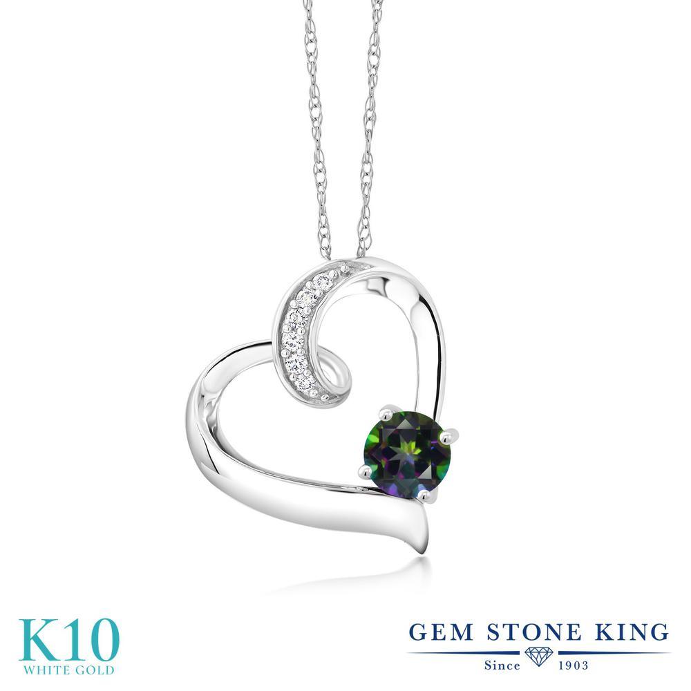 Gem Stone King 0.58カラット 天然石 ミスティックトパーズ (グリーン) 合成ダイヤモンド 10金 ホワイトゴールド(K10) ネックレス レディース 天然石 金属アレルギー対応 誕生日プレゼント