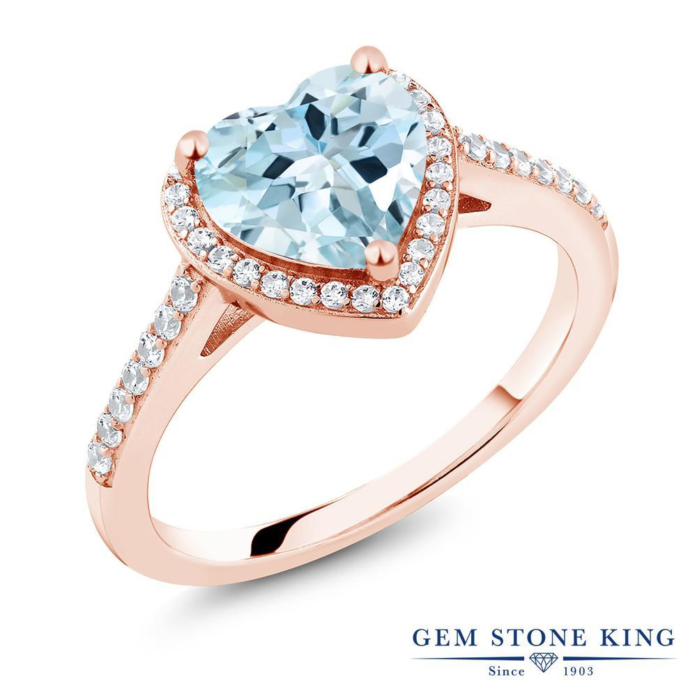 Gem Stone King 2.09カラット 天然トパーズ(スカイブルー) シルバー 925 ローズゴールドコーティング 指輪 リング レディース 大粒 ヘイロー 天然石 誕生石 金属アレルギー対応 誕生日プレゼント
