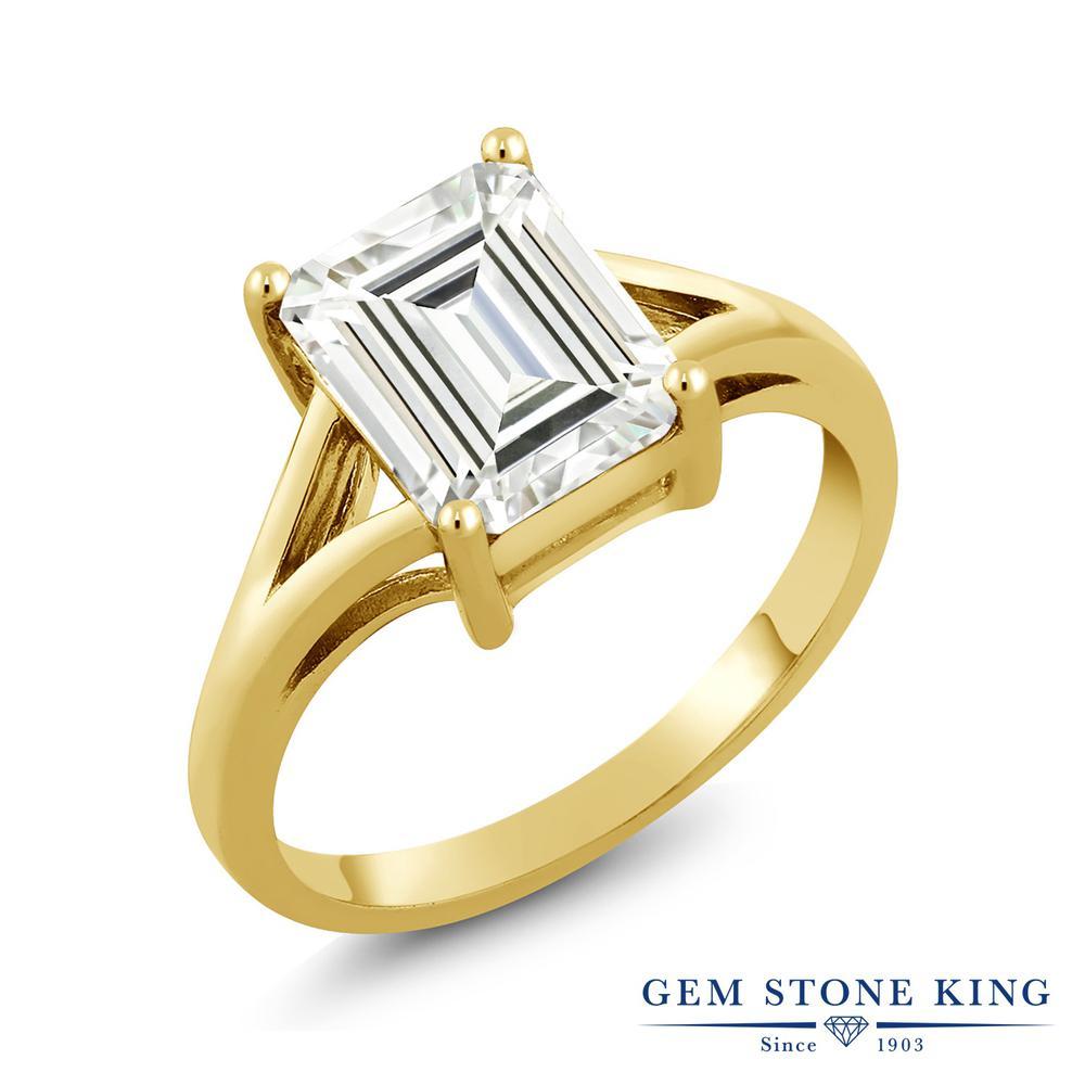Gem Stone King 2.1カラット Forever Classic シルバー925 イエローゴールドコーティング 指輪 リング レディース モアサナイト 大粒 一粒 シンプル 金属アレルギー対応 誕生日プレゼント
