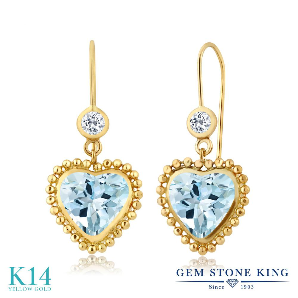 Gem Stone King 4.04カラット 天然 スカイブルートパーズ 天然 トパーズ (無色透明) 14金 イエローゴールド(K14) ピアス レディース 大粒 レバーバック 天然石 11月 誕生石 金属アレルギー対応 誕生日プレゼント