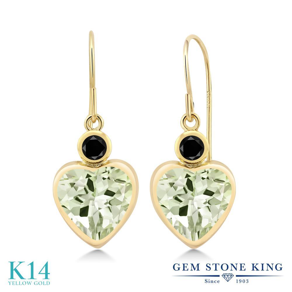 Gem Stone King 3.7カラット 天然 プラジオライト (グリーンアメジスト) 天然ブラックダイヤモンド 14金 イエローゴールド(K14) ピアス レディース 大粒 フレンチワイヤー 天然石 金属アレルギー対応 誕生日プレゼント
