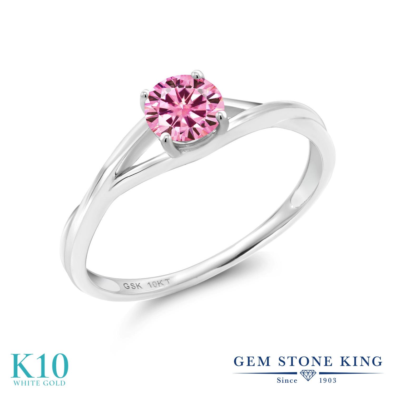 Gem Stone King 0.5カラット ピンク モアサナイト Charles & Colvard 10金 ホワイトゴールド(K10) 指輪 リング レディース モアッサナイト 小粒 一粒 シンプル ソリティア 金属アレルギー対応 誕生日プレゼント