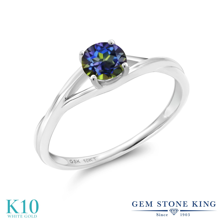 Gem Stone King 0.5カラット 天然石 ミスティックトパーズ (ブルー) 10金 ホワイトゴールド(K10) 指輪 リング レディース 小粒 一粒 シンプル ソリティア 天然石 金属アレルギー対応 婚約指輪 エンゲージリング