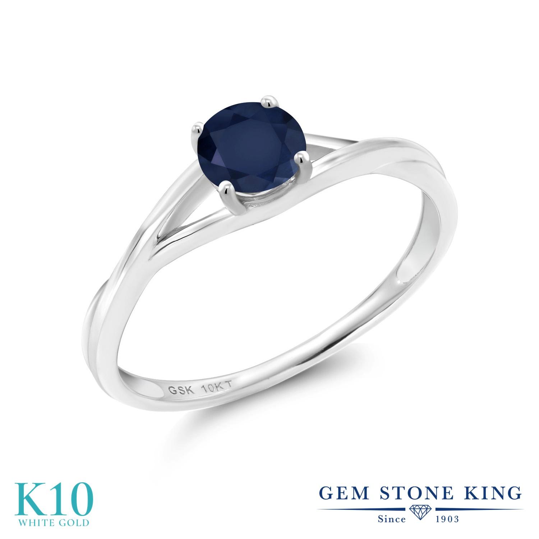 Gem Stone King 0.6カラット 天然 サファイア 10金 ホワイトゴールド(K10) 指輪 リング レディース 一粒 シンプル ソリティア 天然石 9月 誕生石 金属アレルギー対応 婚約指輪 エンゲージリング