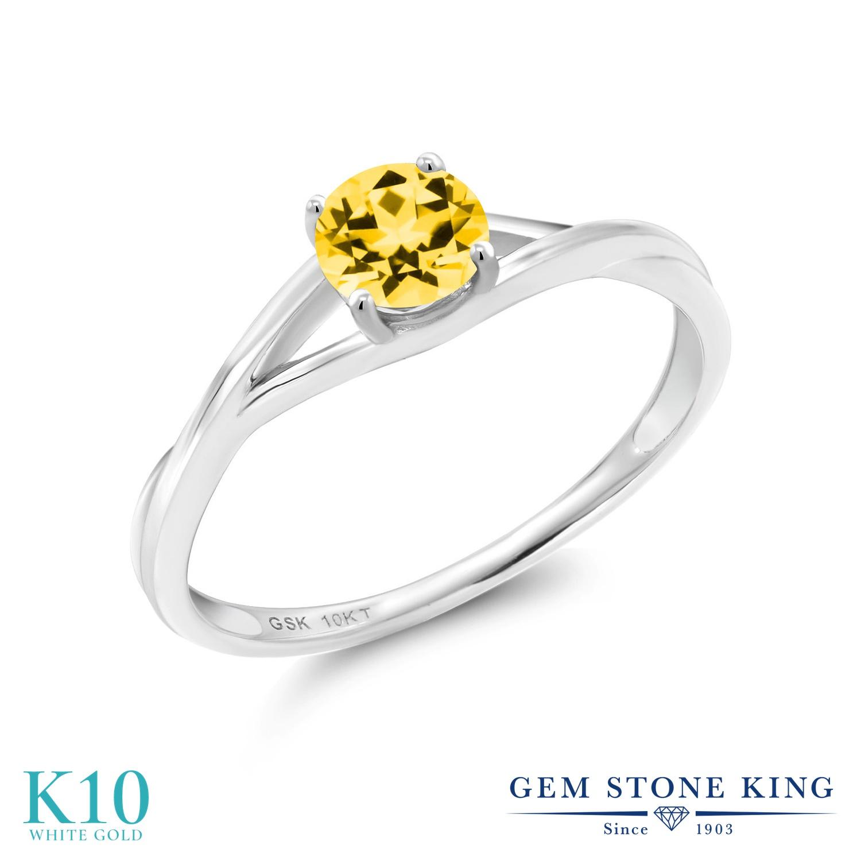 Gem Stone King 0.65カラット 天然石 トパーズ ハニースワロフスキー 10金 ホワイトゴールド(K10) 指輪 リング レディース 一粒 シンプル ソリティア 天然石 金属アレルギー対応 誕生日プレゼント