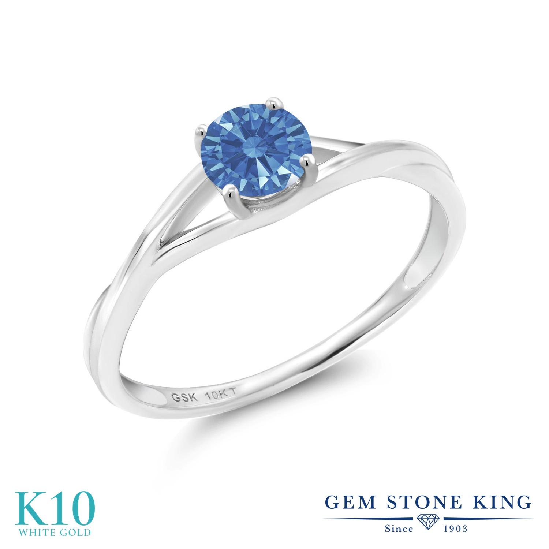 Gem Stone King スワロフスキージルコニア (ファンシーブルー) 10金 ホワイトゴールド(K10) 指輪 リング レディース CZ 小粒 一粒 シンプル ソリティア 金属アレルギー対応 誕生日プレゼント