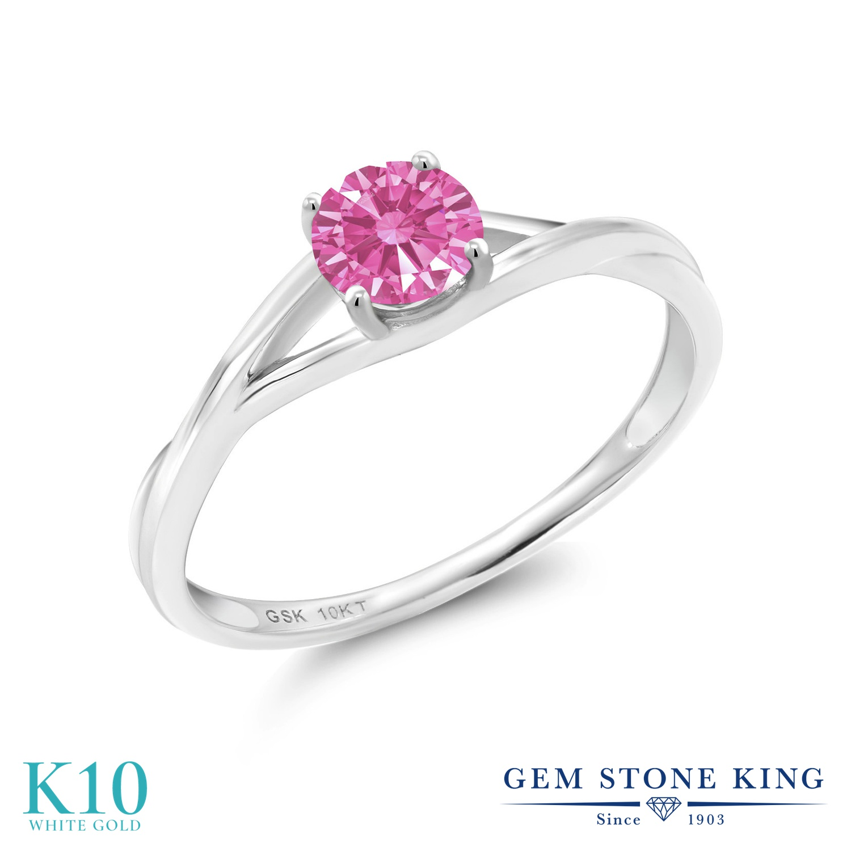 Gem Stone King スワロフスキージルコニア (ピンク) 10金 ホワイトゴールド(K10) 指輪 リング レディース CZ 小粒 一粒 シンプル ソリティア 金属アレルギー対応 誕生日プレゼント
