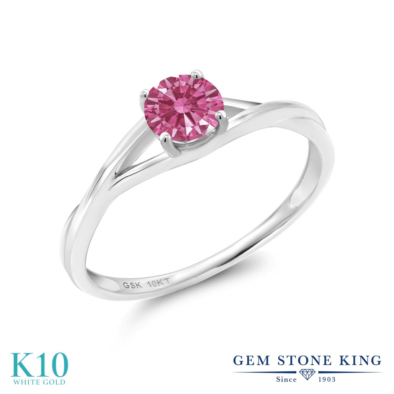 Gem Stone King スワロフスキージルコニア (レッド) 10金 ホワイトゴールド(K10) 指輪 リング レディース CZ 小粒 一粒 シンプル ソリティア 金属アレルギー対応 誕生日プレゼント