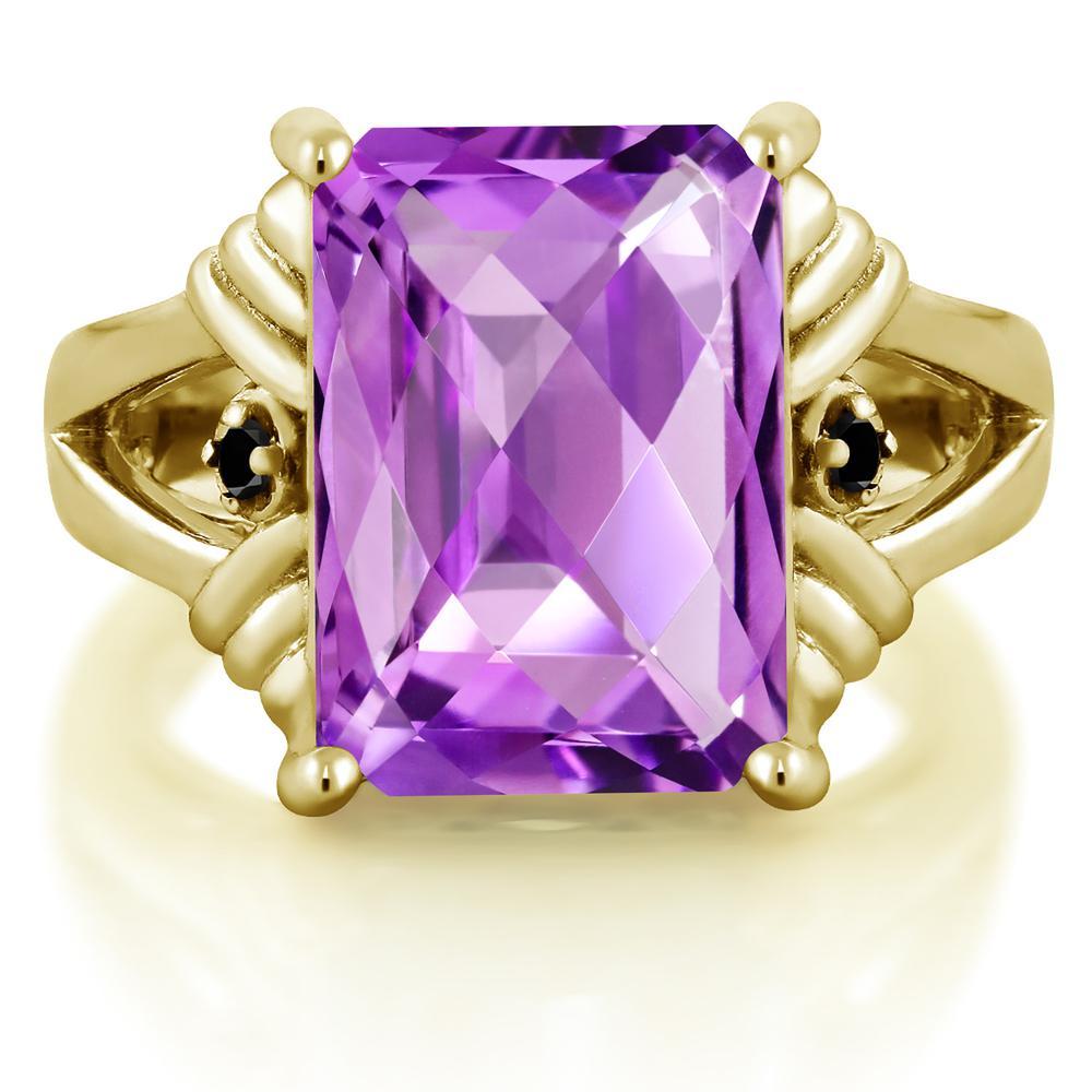 7 23カラット 天然 アメジスト 指輪 レディース リング ブラックダイヤモンド イエローゴールド 加工 シルバー925 ブランド おしゃれ アメシスト 紫 大粒 シンプル 天然石 2月 誕生石 プレゼント 女性 彼女 妻 誕生日F513uTlKJc