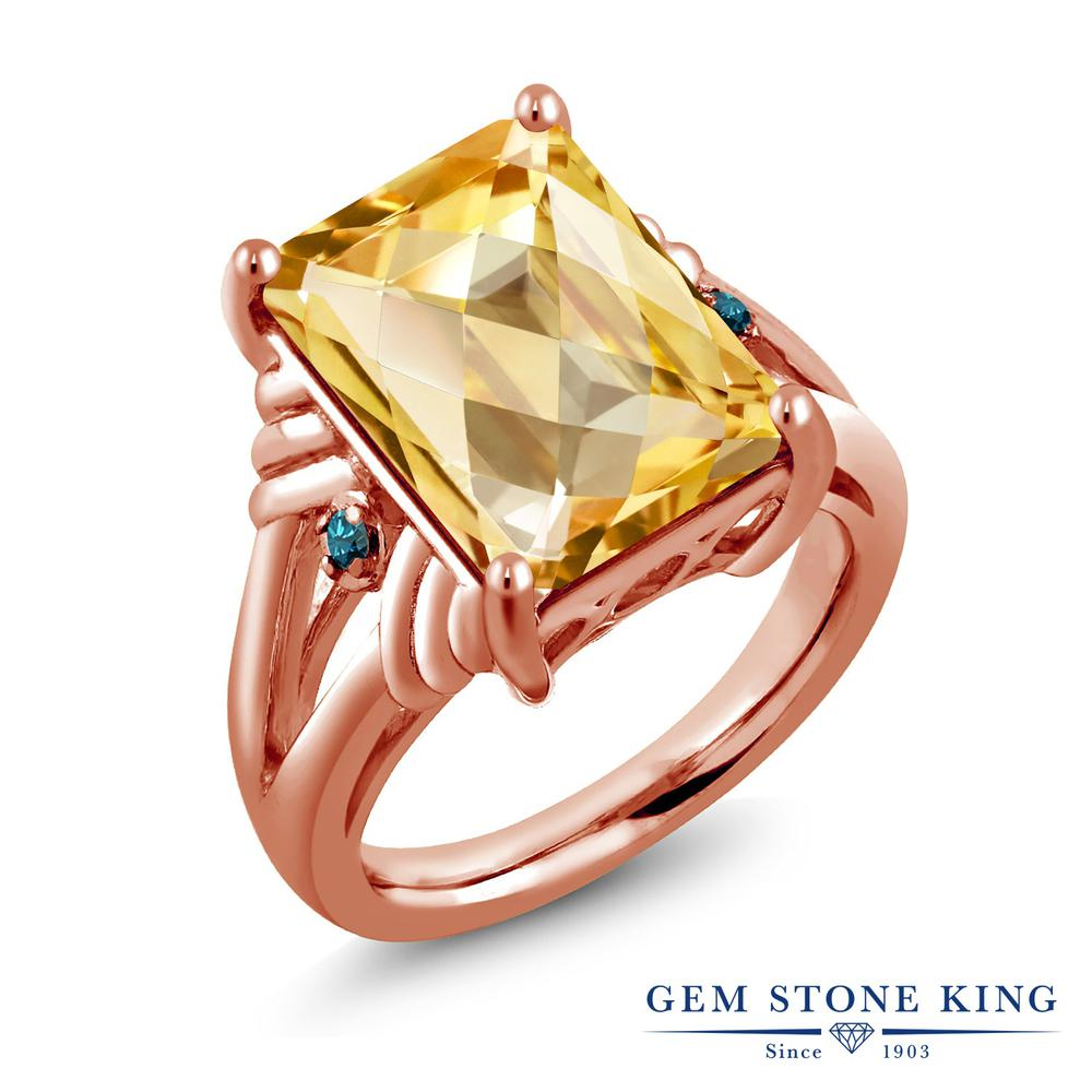 Gem Stone King 6.79カラット 天然 シトリン 天然 ブルーダイヤモンド シルバー925 ピンクゴールドコーティング 指輪 リング レディース 大粒 シンプル 天然石 11月 誕生石 金属アレルギー対応 誕生日プレゼント