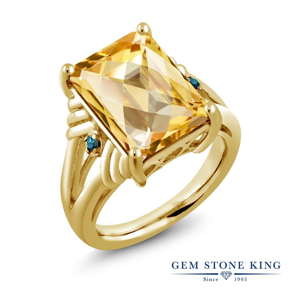 Gem Stone King 6.79カラット 天然 シトリン 天然 ブルーダイヤモンド シルバー925 イエローゴールドコーティング 指輪 リング レディース 大粒 シンプル 天然石 11月 誕生石 金属アレルギー対応 誕生日プレゼント