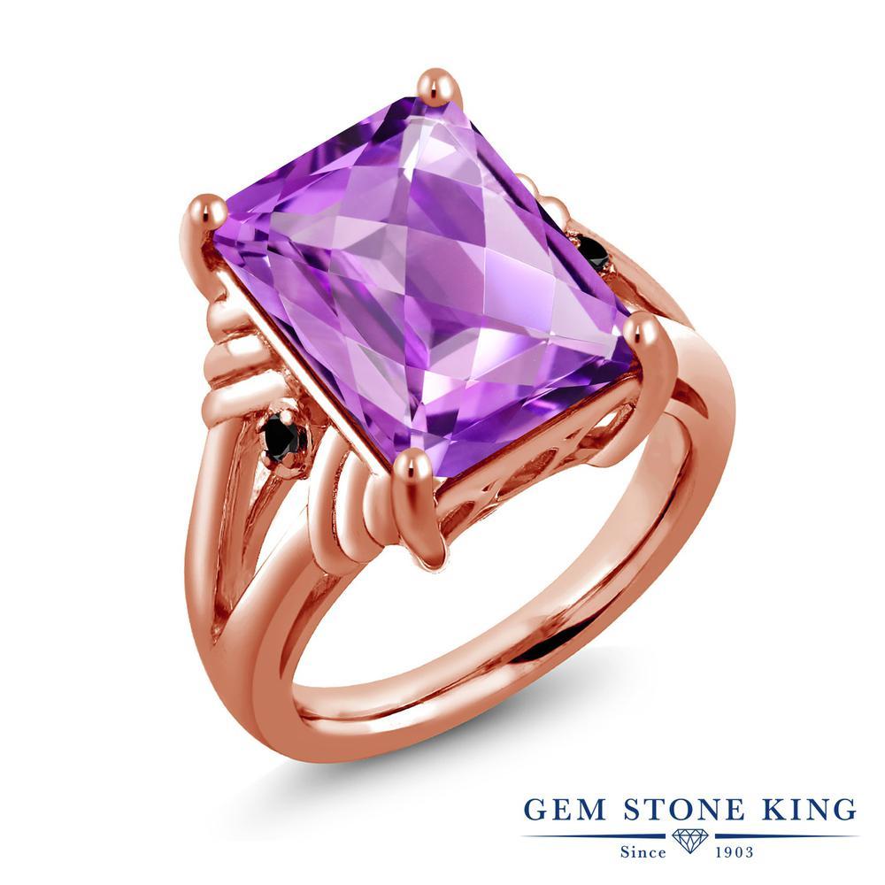 Gem Stone King 7.23カラット 天然 アメジスト 天然ブラックダイヤモンド シルバー925 ピンクゴールドコーティング 指輪 リング レディース 大粒 シンプル 天然石 2月 誕生石 金属アレルギー対応 誕生日プレゼント