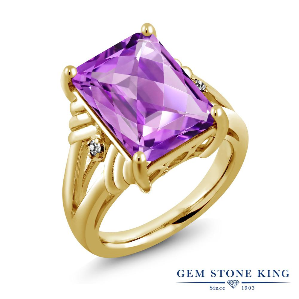 Gem Stone King 7.23カラット 天然 アメジスト 天然 ダイヤモンド シルバー925 イエローゴールドコーティング 指輪 リング レディース 大粒 シンプル 天然石 2月 誕生石 金属アレルギー対応 誕生日プレゼント