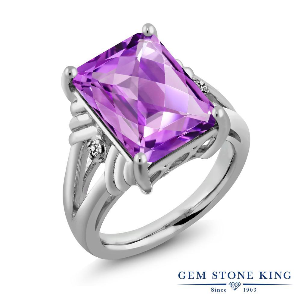 Gem Stone King 7.23カラット 天然 アメジスト 天然 ダイヤモンド シルバー925 指輪 リング レディース 大粒 シンプル 天然石 2月 誕生石 金属アレルギー対応 誕生日プレゼント