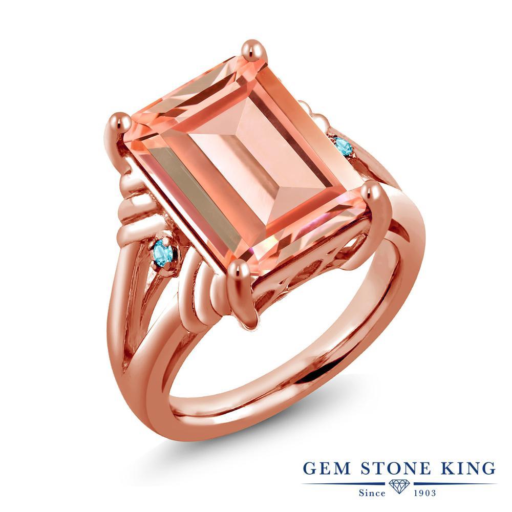 Gem Stone King 6.34カラット シミュレイテッドトパーズ(スカイブルー) シルバー 925 ローズゴールドコーティング 指輪 リング レディース 大粒 シンプル 金属アレルギー対応 誕生日プレゼント