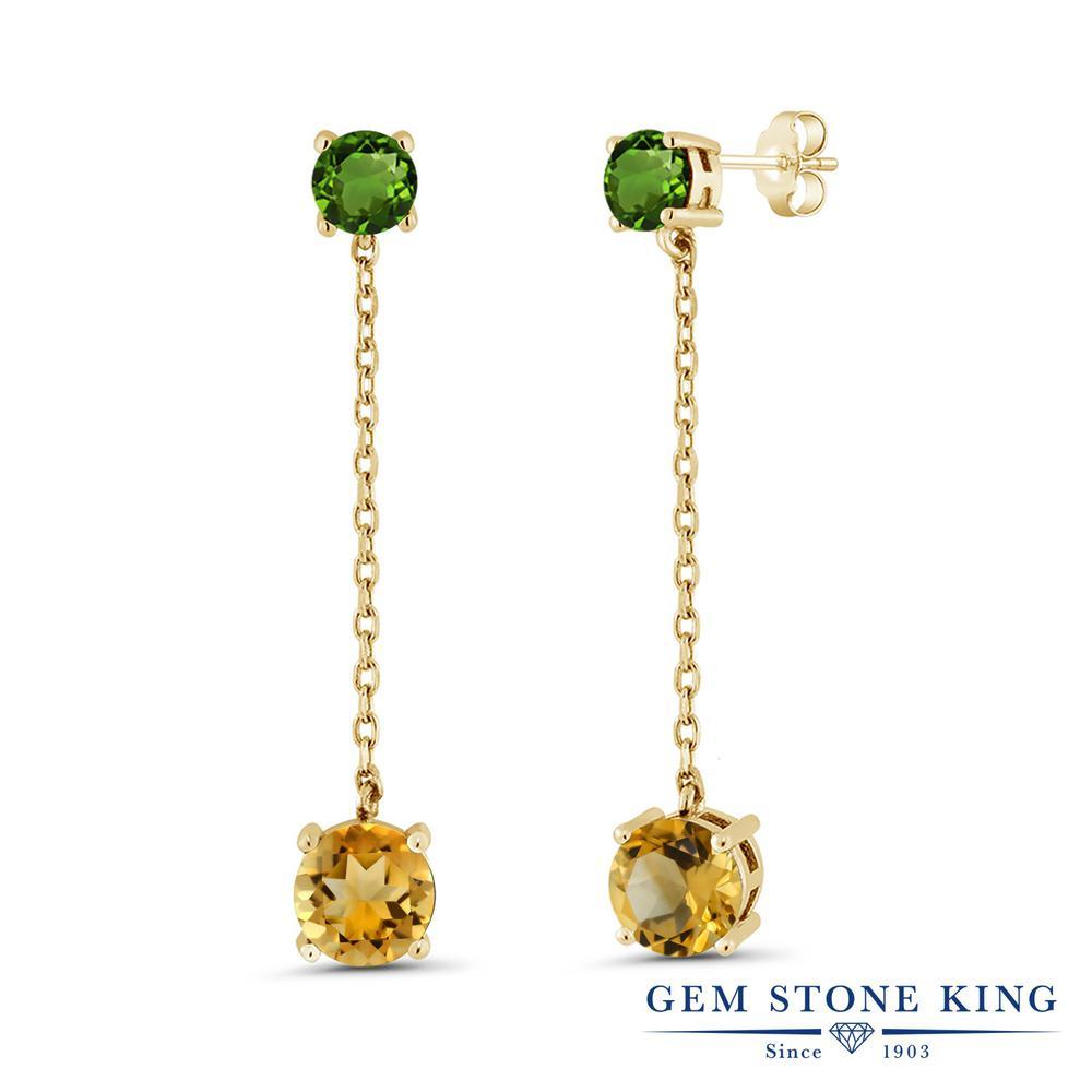 Gem Stone King 3.6カラット 天然 シトリン 天然 クロムダイオプサイド シルバー925 イエローゴールドコーティング ピアス レディース 大粒 ぶら下がり 天然石 11月 誕生石 金属アレルギー対応 誕生日プレゼント