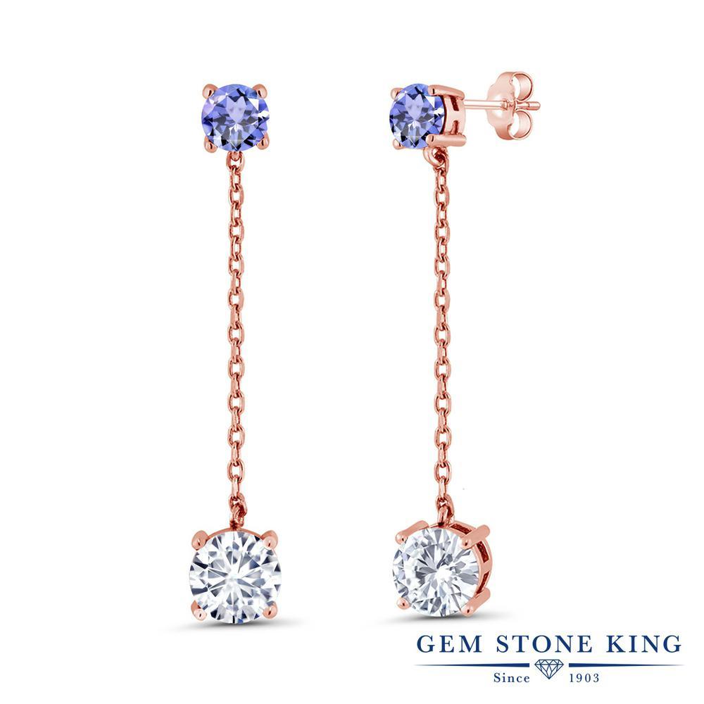 Gem Stone King 3.32カラット Forever Classic モアッサナイト Charles & Colvard 天然石 タンザナイト シルバー925 ピンクゴールドコーティング ピアス レディース モアサナイト 大粒 ぶら下がり 金属アレルギー対応 誕生日プレゼント