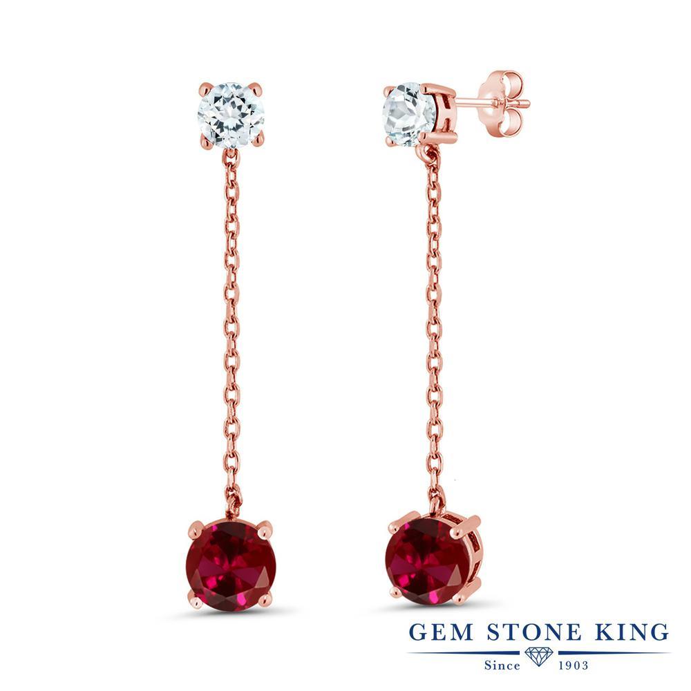 Gem Stone King 4.1カラット 合成ルビー 天然 アクアマリン シルバー925 ピンクゴールドコーティング ピアス レディース 大粒 ぶら下がり 金属アレルギー対応 誕生日プレゼント