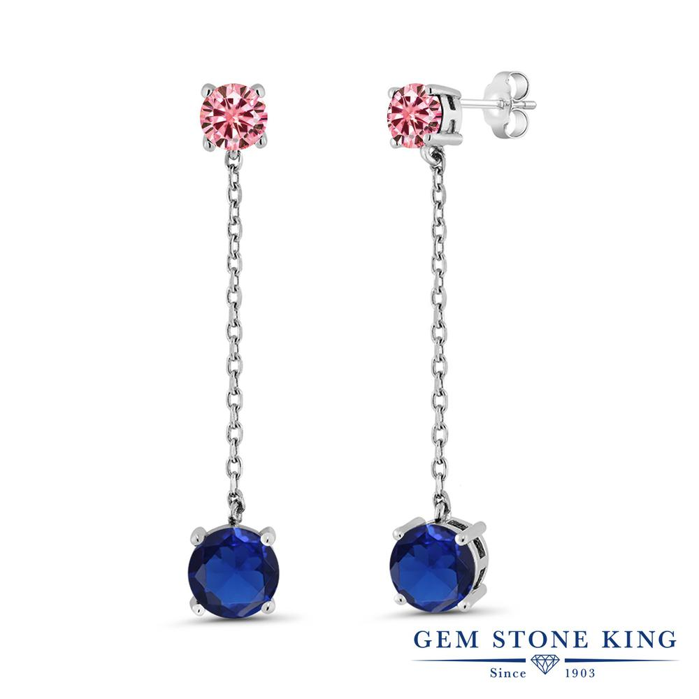 Gem Stone King 4.2カラット シミュレイテッド サファイア モアッサナイト Charles & Colvard シルバー925 ピアス レディース 大粒 ぶら下がり 金属アレルギー対応 誕生日プレゼント