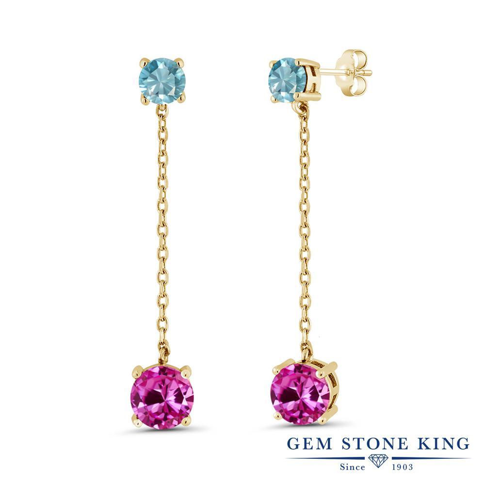 Gem Stone King 5.02カラット 合成ピンクサファイア 天然石 ブルージルコン シルバー925 イエローゴールドコーティング ピアス レディース 大粒 ぶら下がり 金属アレルギー対応 誕生日プレゼント