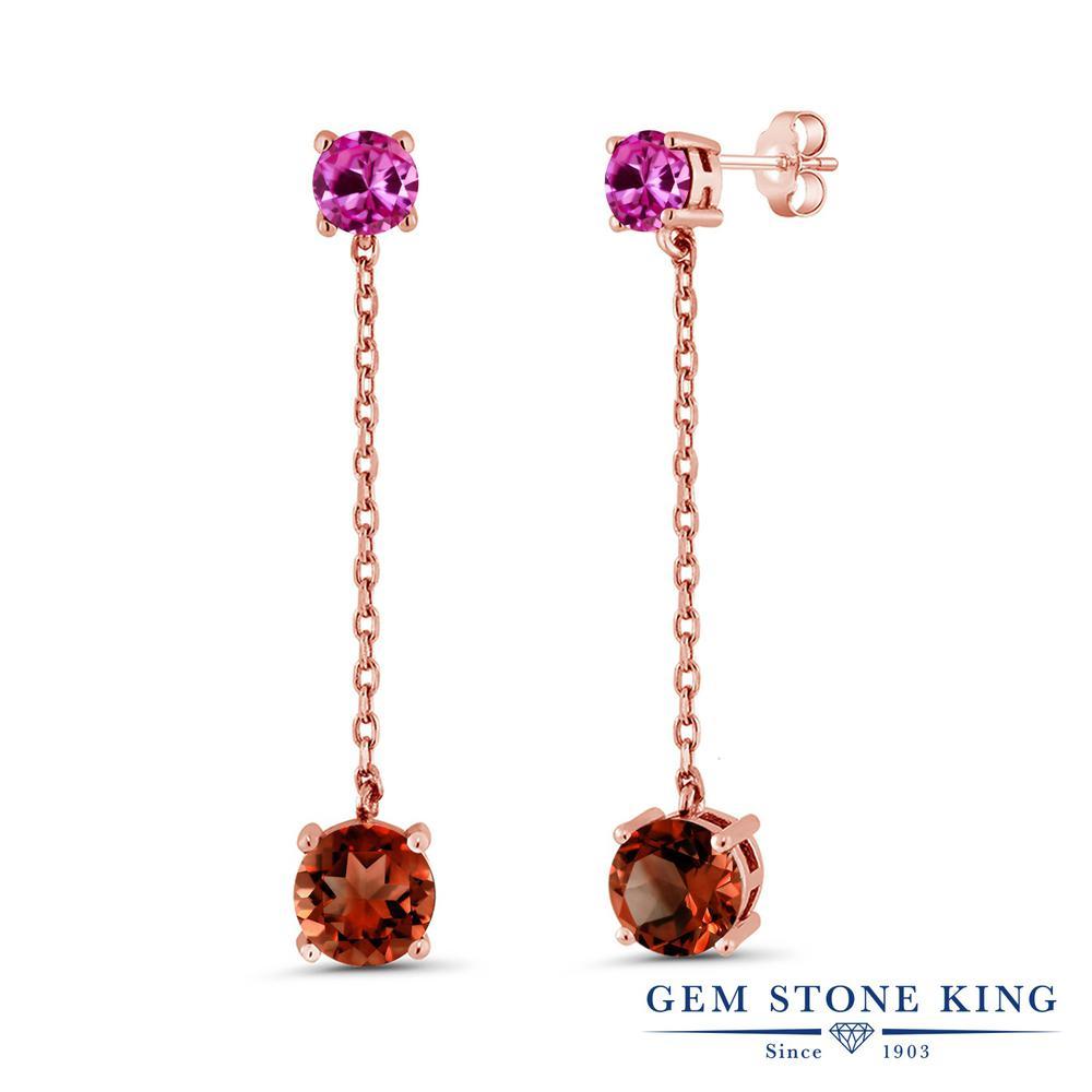 Gem Stone King 4.1カラット 天然 ガーネット 合成ピンクサファイア シルバー925 ピンクゴールドコーティング ピアス レディース 大粒 ぶら下がり 天然石 1月 誕生石 金属アレルギー対応 誕生日プレゼント