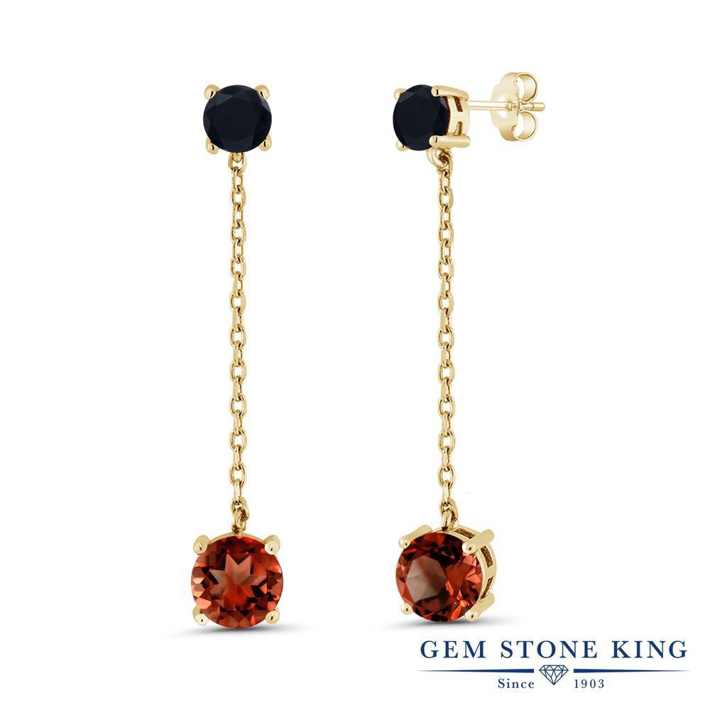Gem Stone King 3.95カラット 天然 ガーネット 天然 オニキス シルバー925 イエローゴールドコーティング ピアス レディース 大粒 ぶら下がり 天然石 1月 誕生石 金属アレルギー対応 誕生日プレゼント