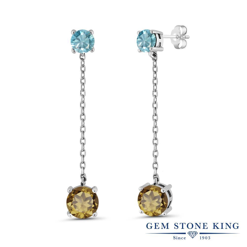 Gem Stone King 4.2カラット 天然石 ウィスキークォーツ 天然石 ブルージルコン シルバー925 ピアス レディース 大粒 ぶら下がり 天然石 金属アレルギー対応 誕生日プレゼント