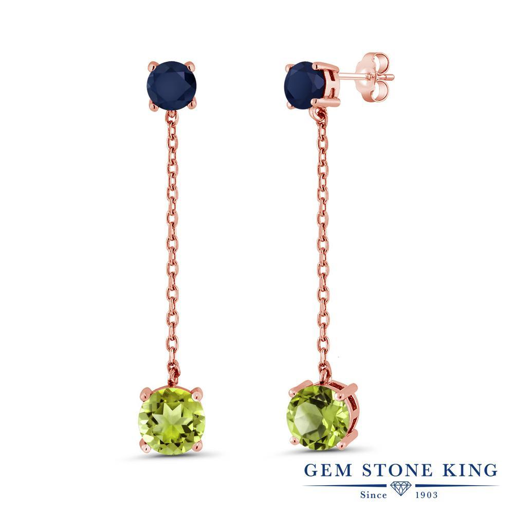 Gem Stone King 4.1カラット 天然石 ペリドット 天然 サファイア シルバー925 ピンクゴールドコーティング ピアス レディース 大粒 ぶら下がり 天然石 8月 誕生石 金属アレルギー対応 誕生日プレゼント