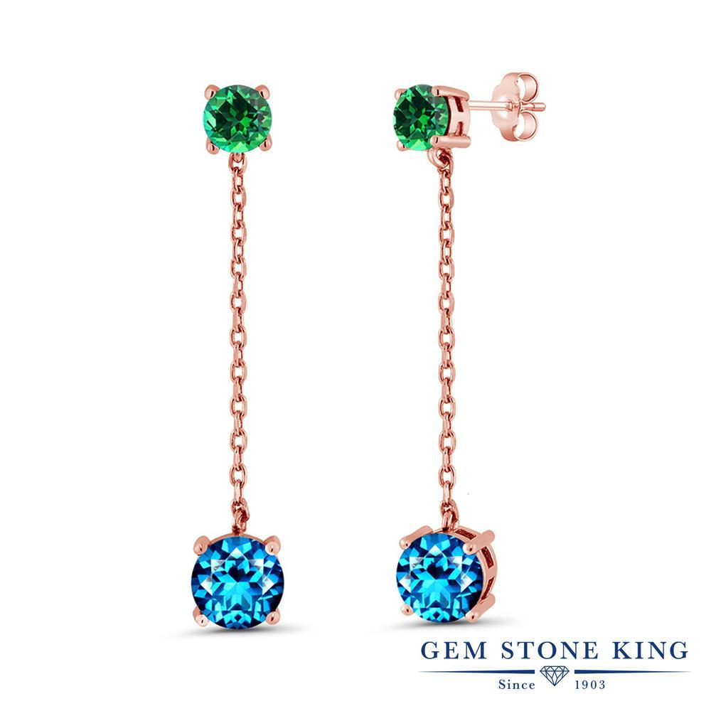 Gem Stone King 4.3カラット 天然石 カシミアブルートパーズ (スワロフスキー 天然石シリーズ) 天然石 トパーズ レインフォレスト (スワロフスキー 天然石シリーズ) シルバー925 ピンクゴールドコーティング ピアス レディース 大粒 ぶら下がり 天然石 金属アレルギー対応