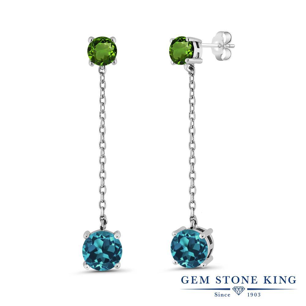 Gem Stone King 4.4カラット 天然 ロンドンブルートパーズ 天然 クロムダイオプサイド シルバー925 ピアス レディース 大粒 ぶら下がり 天然石 11月 誕生石 金属アレルギー対応 誕生日プレゼント