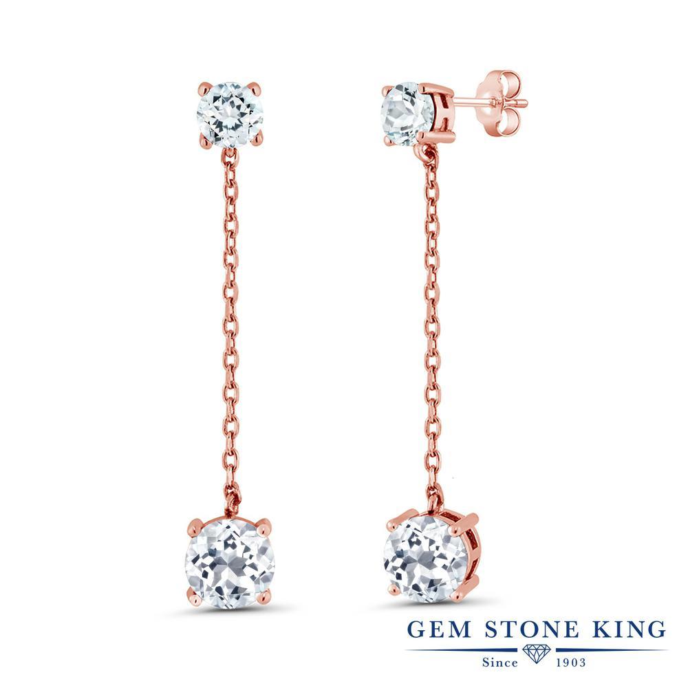 Gem Stone King 4.3カラット 天然 トパーズ (無色透明) 天然 アクアマリン シルバー925 ピンクゴールドコーティング ピアス レディース 大粒 ぶら下がり 天然石 11月 誕生石 金属アレルギー対応 誕生日プレゼント