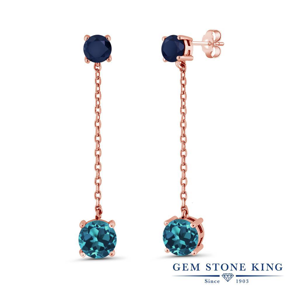 Gem Stone King 4.6カラット 天然 ロンドンブルートパーズ 天然 サファイア シルバー925 ピンクゴールドコーティング ピアス レディース 大粒 ぶら下がり 天然石 11月 誕生石 金属アレルギー対応 誕生日プレゼント