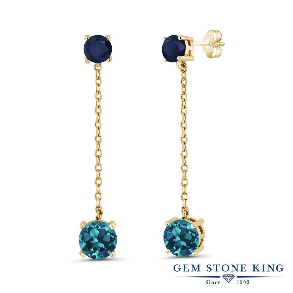 Gem Stone King 4.6カラット 天然 ロンドンブルートパーズ 天然 サファイア シルバー925 イエローゴールドコーティング ピアス レディース 大粒 ぶら下がり 天然石 11月 誕生石 金属アレルギー対応 誕生日プレゼント