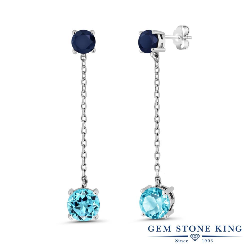 Gem Stone King 4.5カラット 天然 スイスブルートパーズ 天然 サファイア シルバー925 ピアス レディース 大粒 ぶら下がり 天然石 11月 誕生石 金属アレルギー対応 誕生日プレゼント