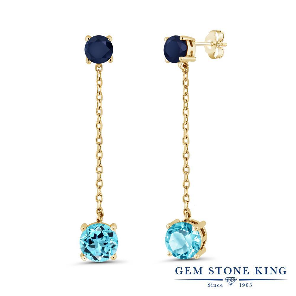 Gem Stone King 4.5カラット 天然 スイスブルートパーズ 天然 サファイア シルバー925 イエローゴールドコーティング ピアス レディース 大粒 ぶら下がり 天然石 11月 誕生石 金属アレルギー対応 誕生日プレゼント