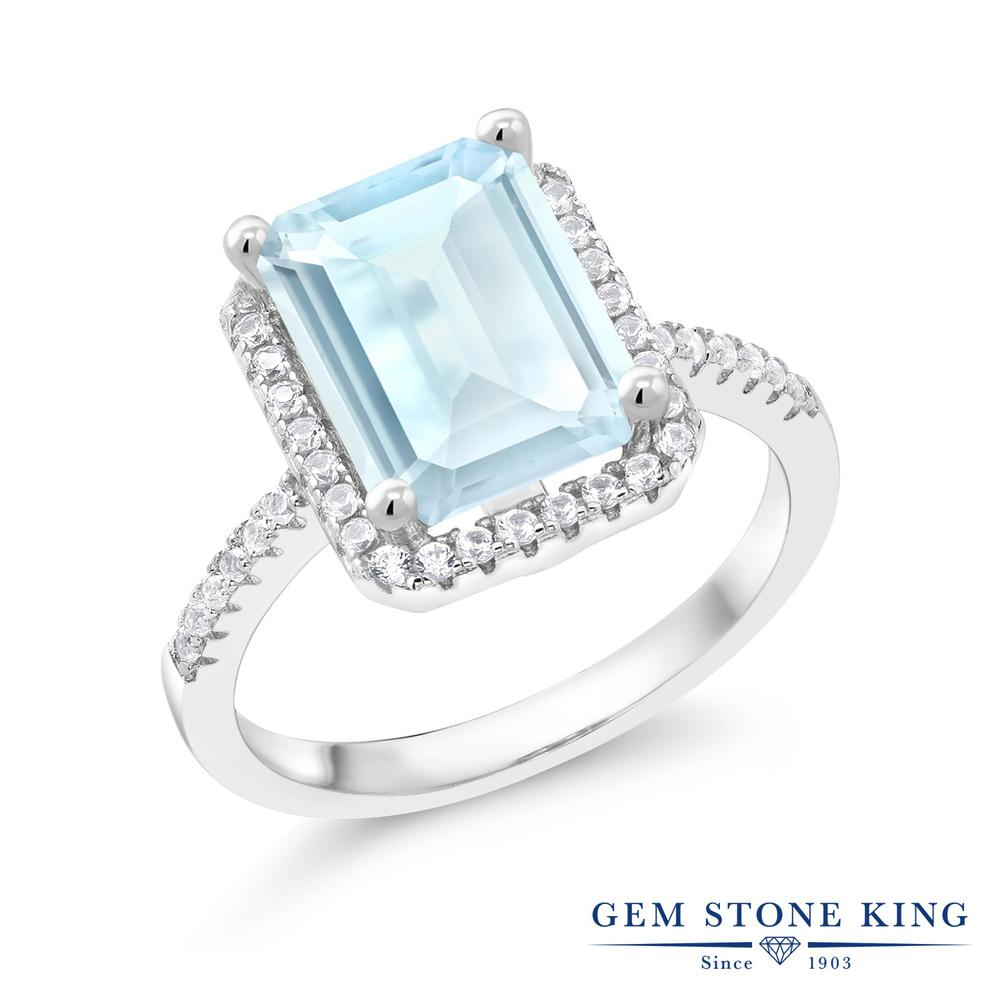 Gem Stone King 4.36カラット 天然トパーズ(スカイブルー) シルバー925 指輪 リング レディース 大粒 大ぶり 天然石 誕生石 金属アレルギー対応 誕生日プレゼント