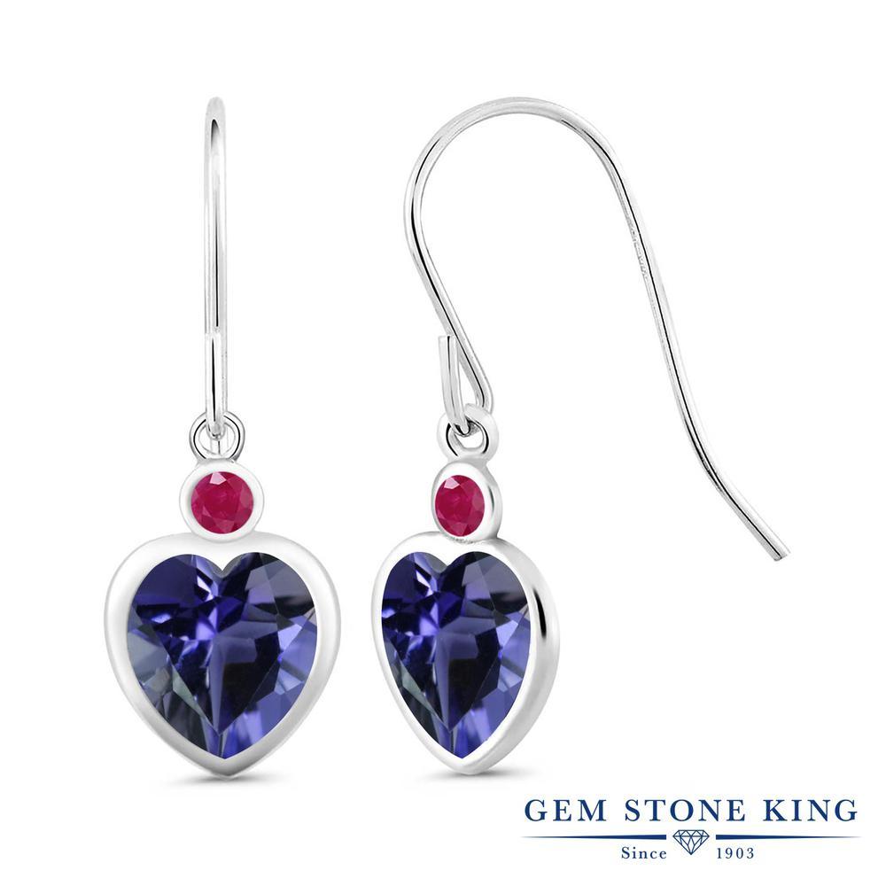 Gem Stone King 2.81カラット 天然 アイオライト (ブルー) 天然 ルビー シルバー925 ピアス レディース 大粒 ぶら下がり フレンチワイヤー 天然石 金属アレルギー対応 誕生日プレゼント