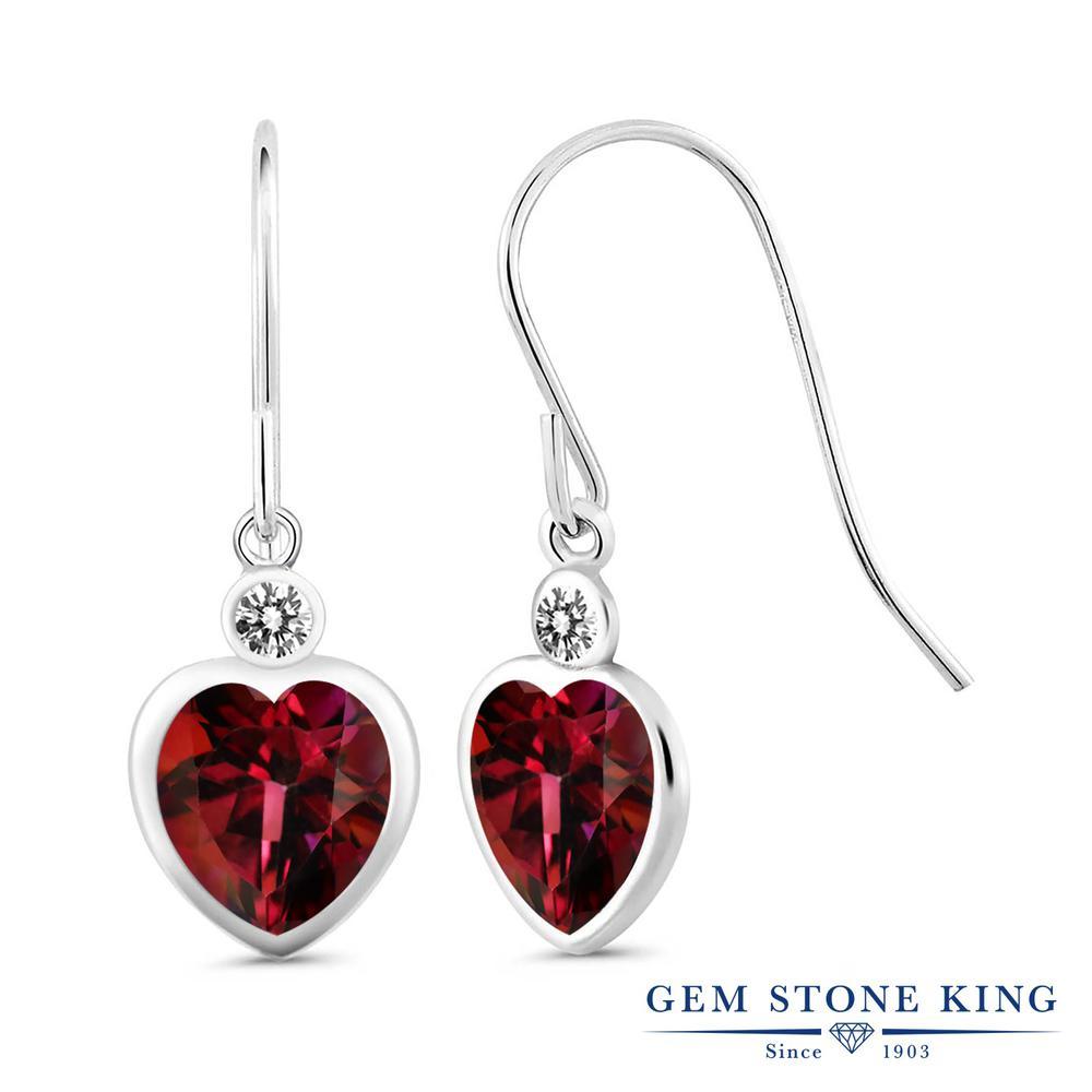 Gem Stone King 4.2カラット 天然石 ミスティックトパーズ (クリムゾンレッド) 天然 ダイヤモンド シルバー925 ピアス レディース 大粒 ぶら下がり フレンチワイヤー 天然石 金属アレルギー対応 誕生日プレゼント