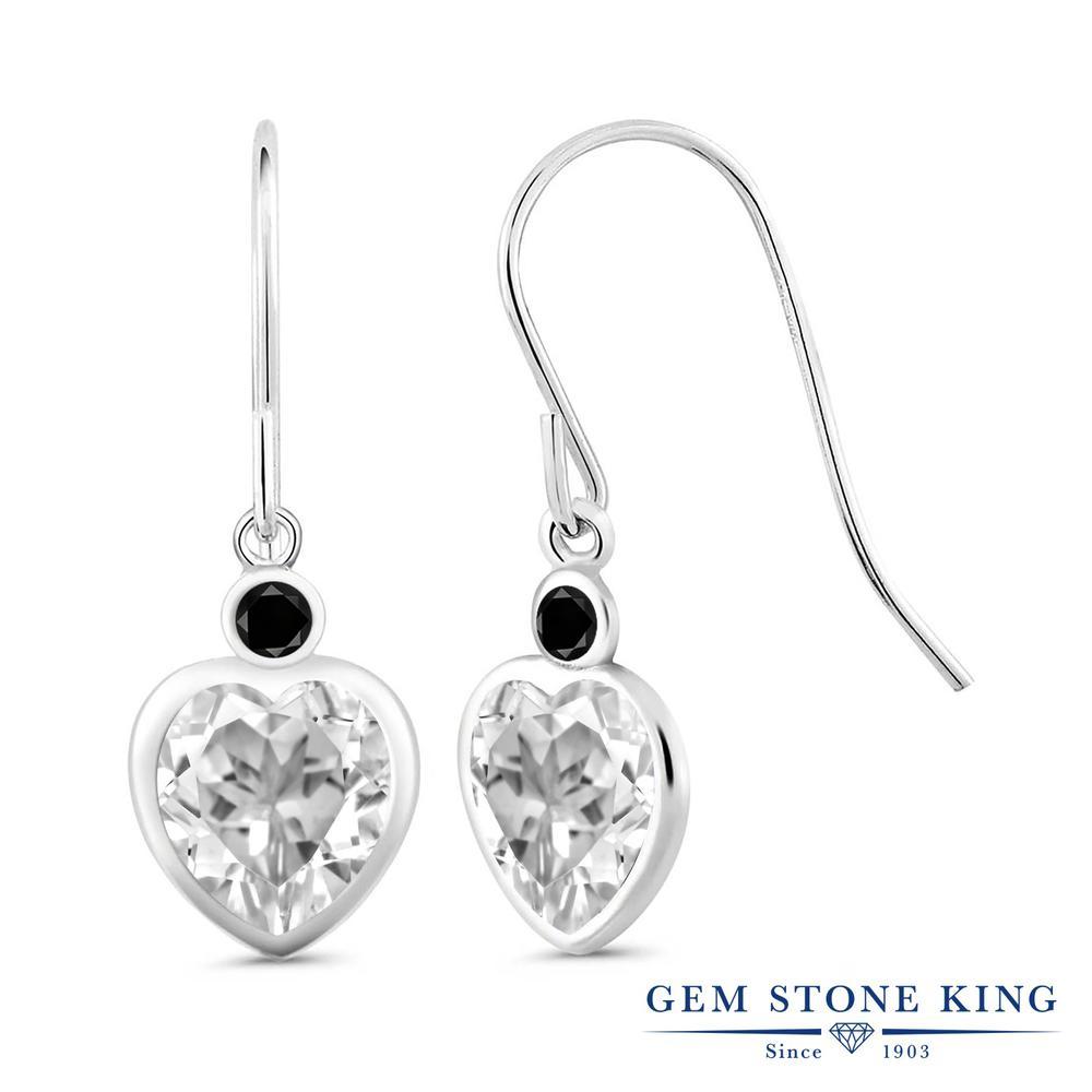 Gem Stone King 4.7カラット 天然 トパーズ (無色透明) 天然ブラックダイヤモンド シルバー925 ピアス レディース 大粒 ぶら下がり フレンチワイヤー 天然石 11月 誕生石 金属アレルギー対応 誕生日プレゼント