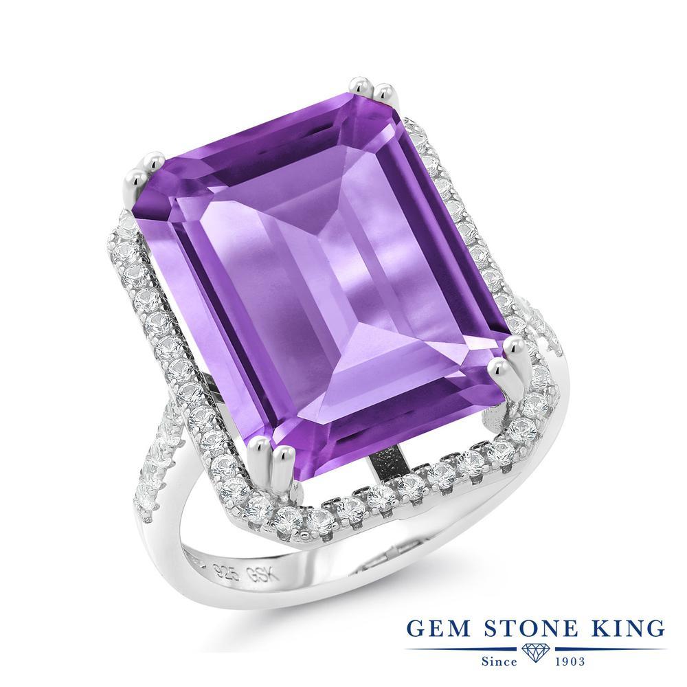 Gem Stone King 15.5カラット 天然 アメジスト シルバー925 指輪 リング レディース 大粒 大ぶり マルチストーン 天然石 2月 誕生石 金属アレルギー対応 誕生日プレゼント