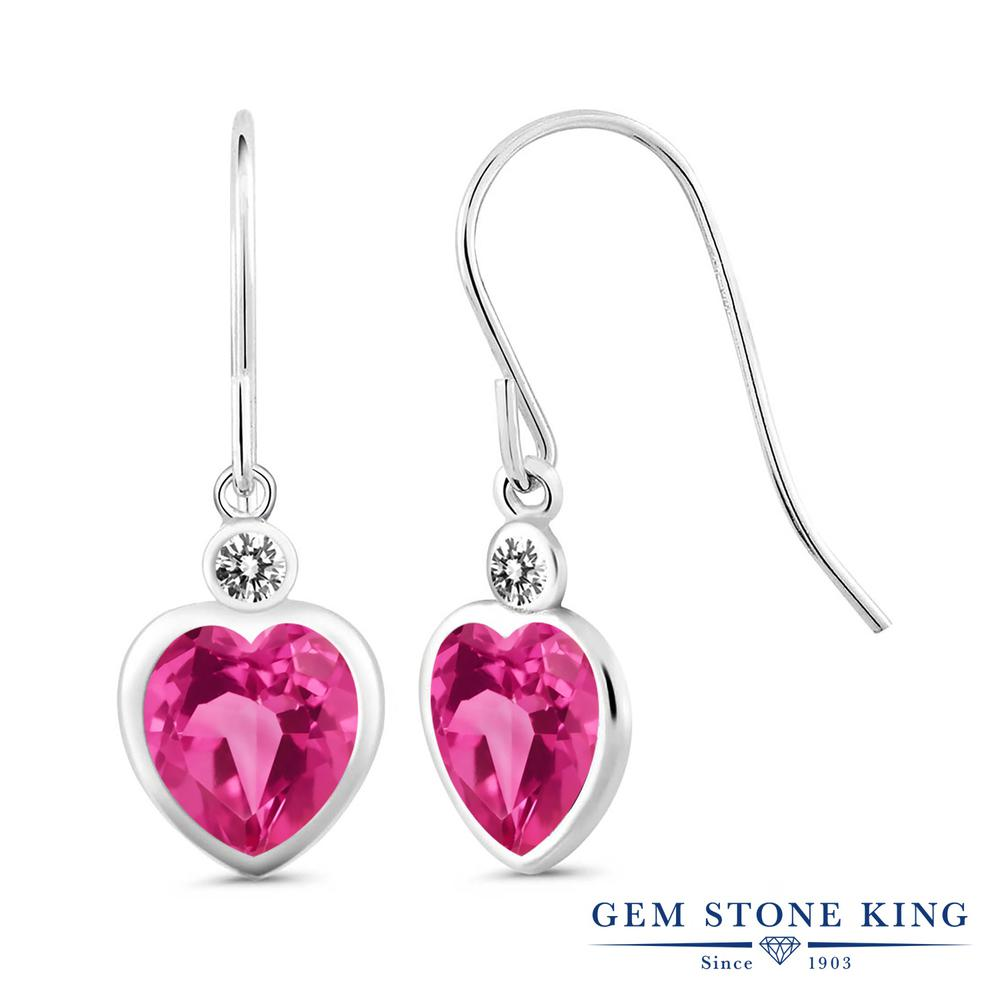 Gem Stone King 5カラット 天然 ミスティックトパーズ (ピンク) 天然 ダイヤモンド シルバー925 ピアス レディース 大粒 ぶら下がり フレンチワイヤー 天然石 金属アレルギー対応 誕生日プレゼント