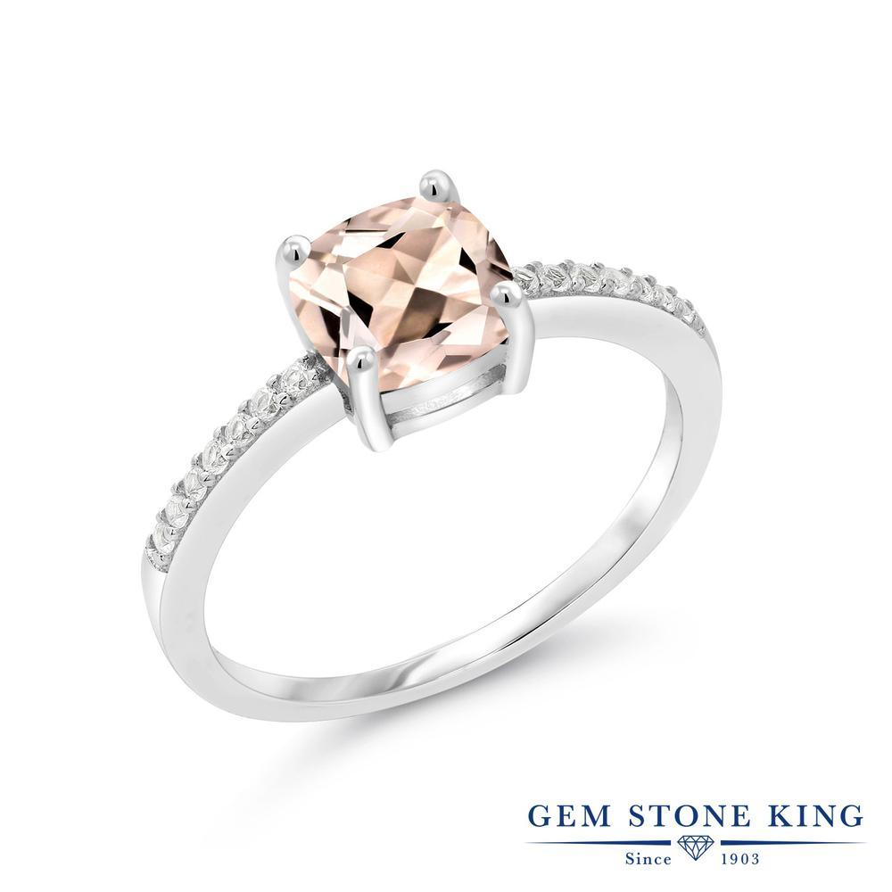 Gem Stone King 1.44カラット 天然 モルガナイト (ピーチ) シルバー925 指輪 リング レディース 大粒 ダブルストーン 天然石 3月 誕生石 金属アレルギー対応 婚約指輪 エンゲージリング