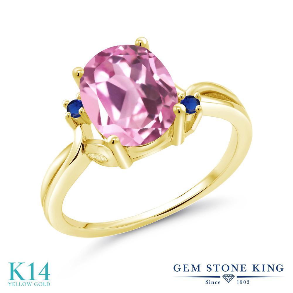 Gem Stone King 3.04カラット 合成ライトピンクサファイア シミュレイテッド サファイア 14金 イエローゴールド(K14) 指輪 リング レディース 大粒 シンプル 金属アレルギー対応 誕生日プレゼント